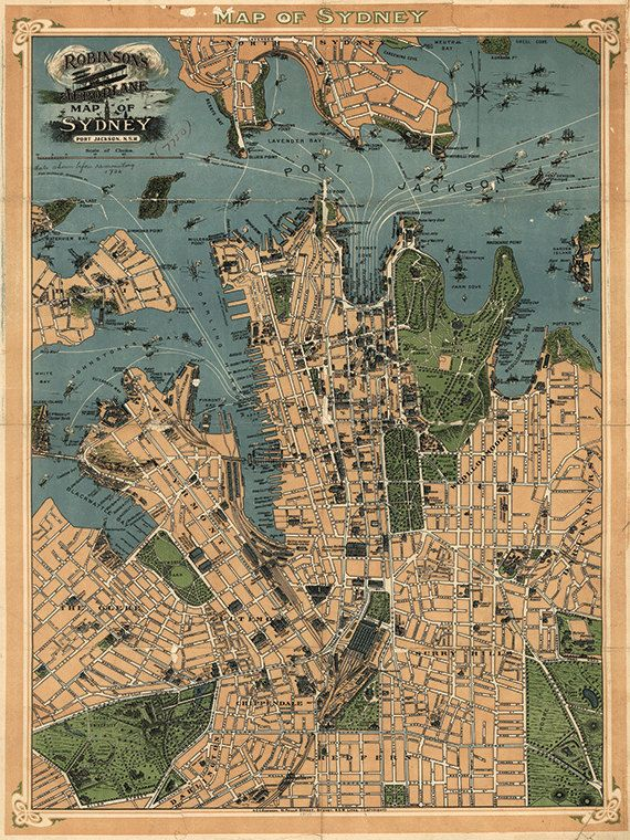 Gorgeous vintage australian 1922 map sydney australia this print is gorgeous vintage australian 1922 map sydney australia this print is digitally enhanced with some odd blemishes left to enhance its antique look gumiabroncs Gallery