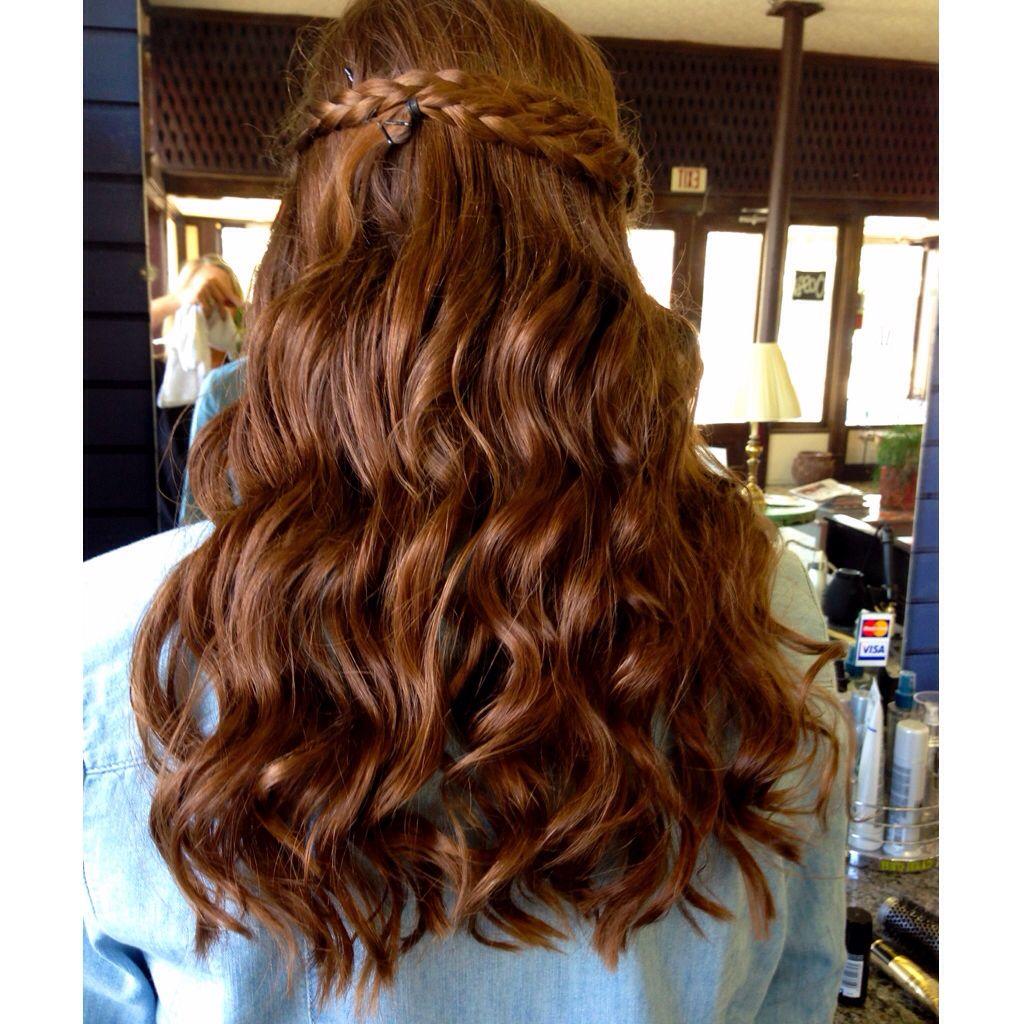 Prom hair Half up half down with braid | Half up hair ...