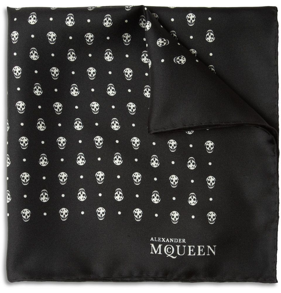 216cbd50bf38b Alexander McQueen Skull-Print Silk Pocket Square $165, sold out. Hint at  your dark side with Alexander McQueen's black and white pocket square.