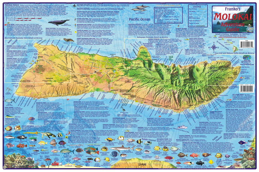 Molokai guide map franko 39 s fabulous maps of favorite for Molokai fish and dive