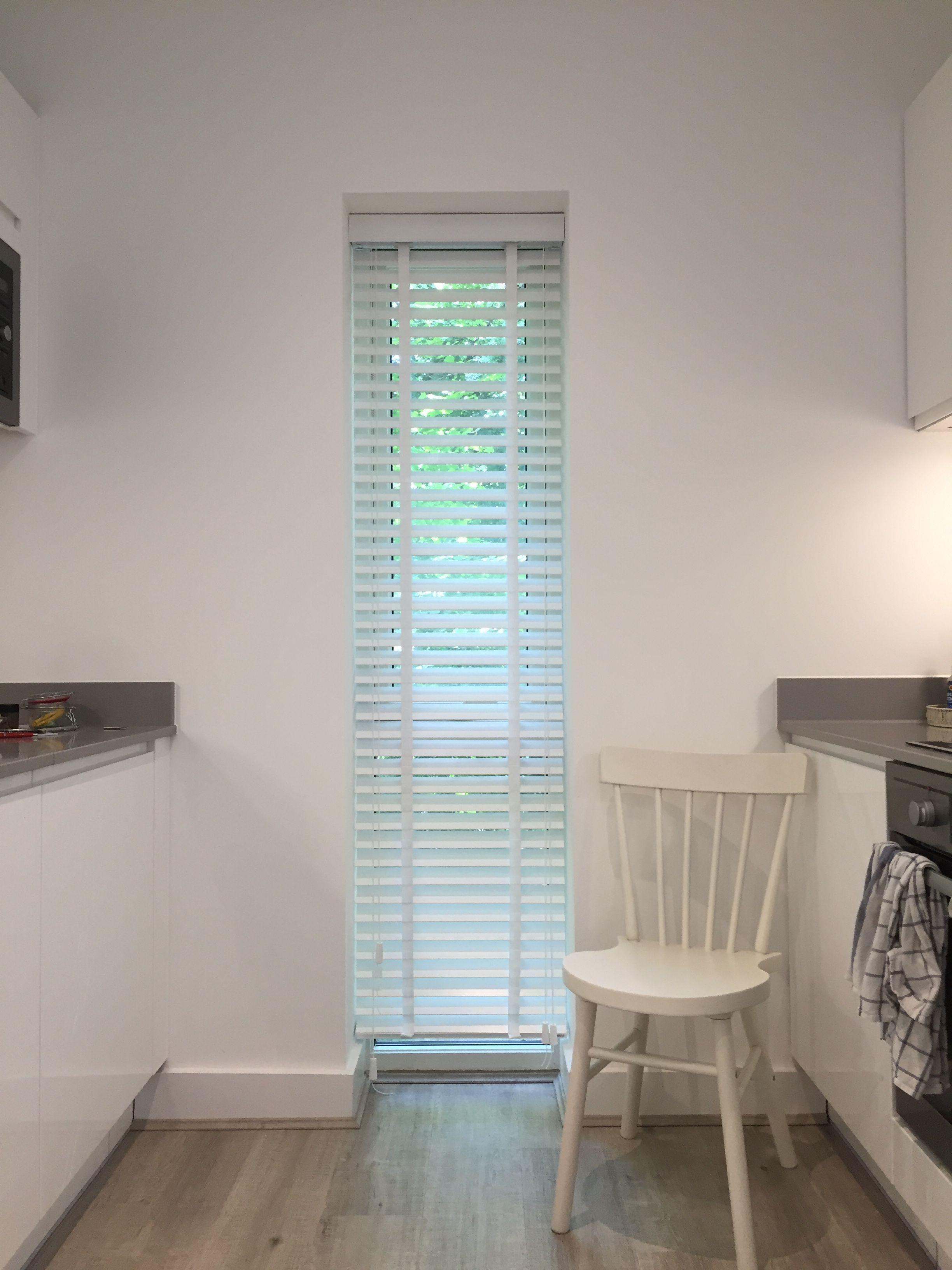 Wood venetian blind for kitchen window | Pure white blind | New ...