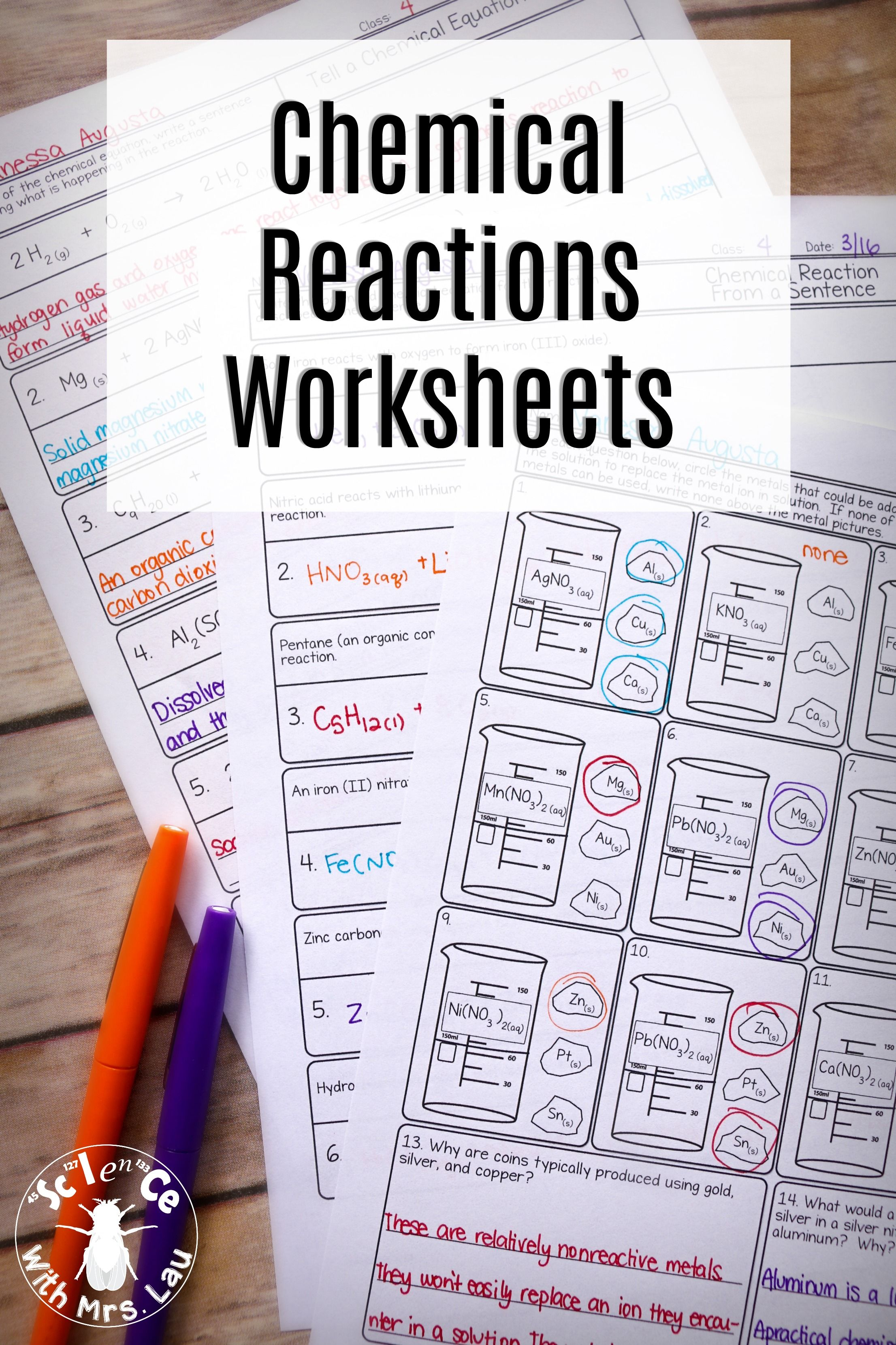 Chemical Reactions Chemistry Homework Page Unit Bundle