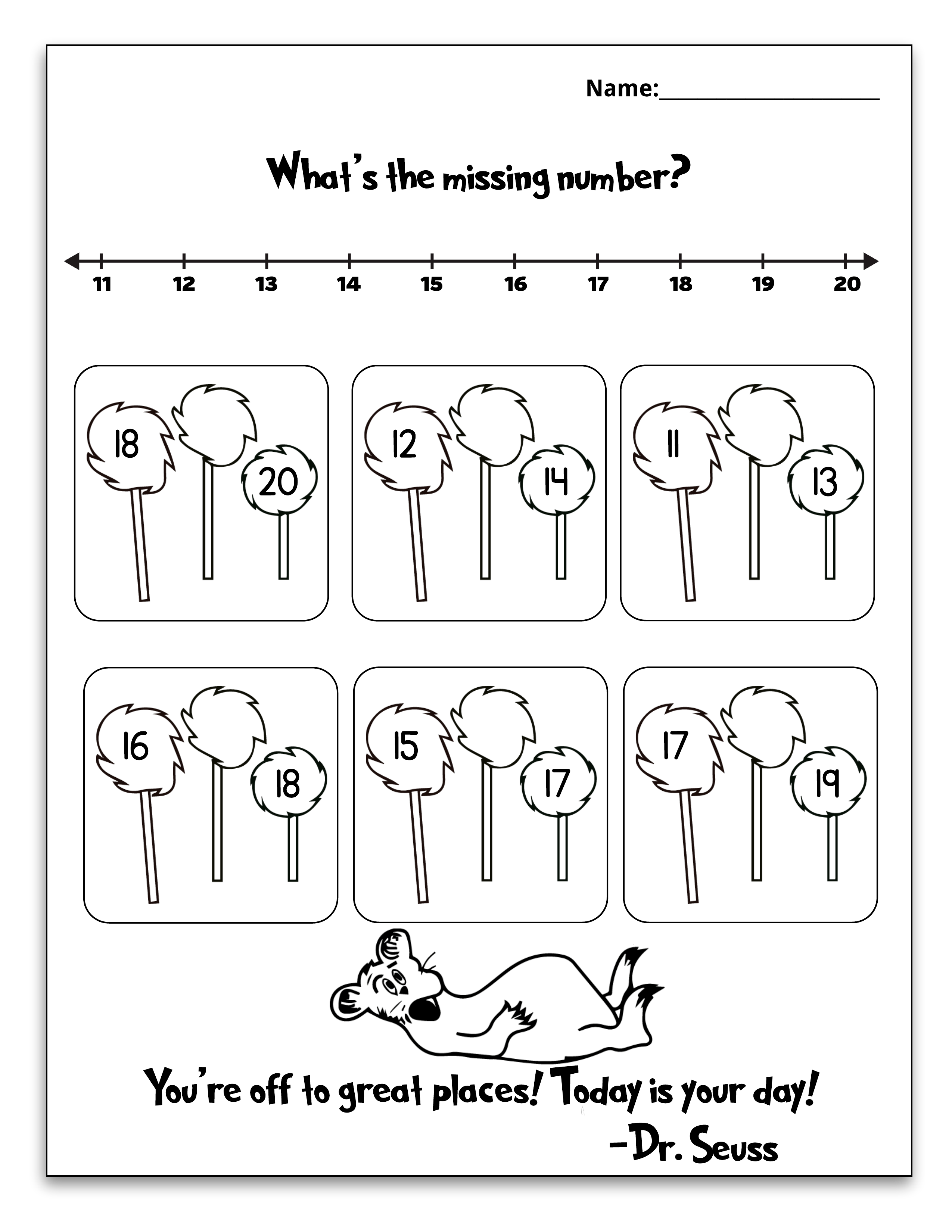 Free Dr Seuss Printable Math Pack