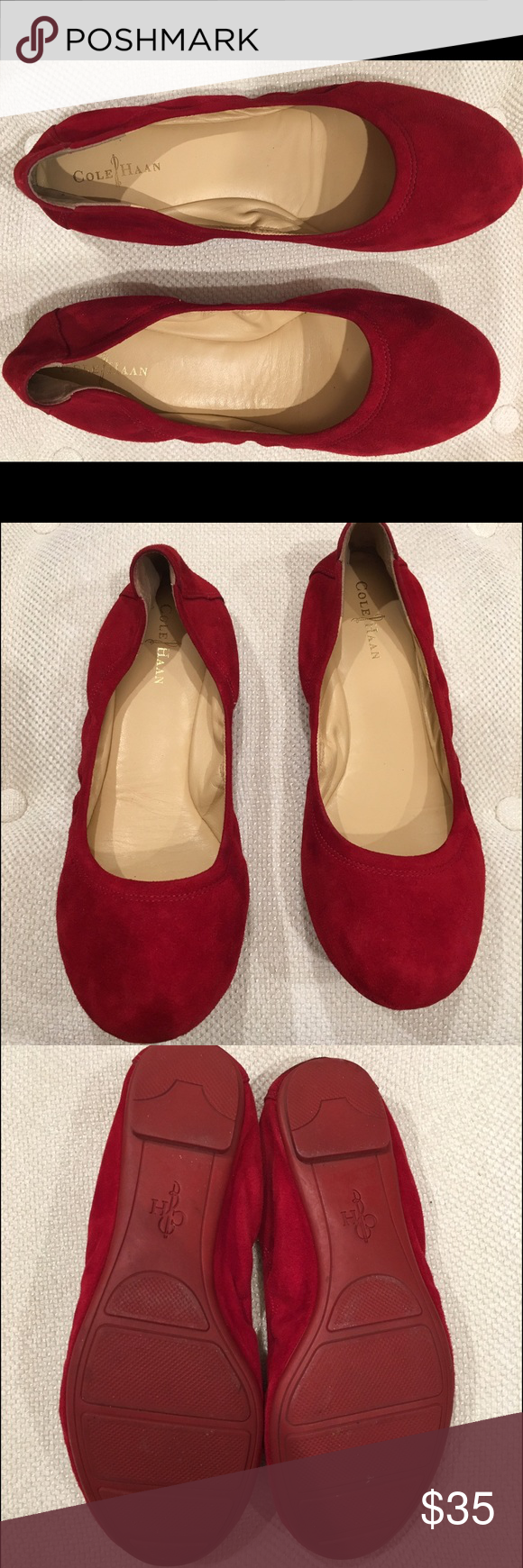 Coach red suade ballet flats Coach red suade ballet flats very gently worn once or twice. As you can see very little wear to these. Super comfortable! Coach Shoes Flats & Loafers