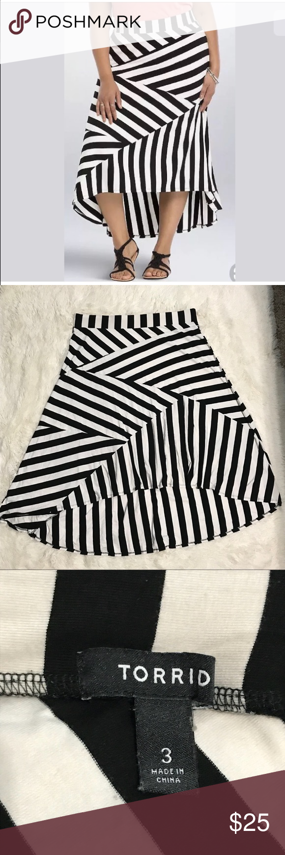 b52d62fcfb Torrid Maxi Skirt 3 3XL High Low Stripes Black TORRID High-Low Maxi Skirt.  • Size: 3 (3XL) • Very good used condition. No holes, flaws, or stains. •  White ...