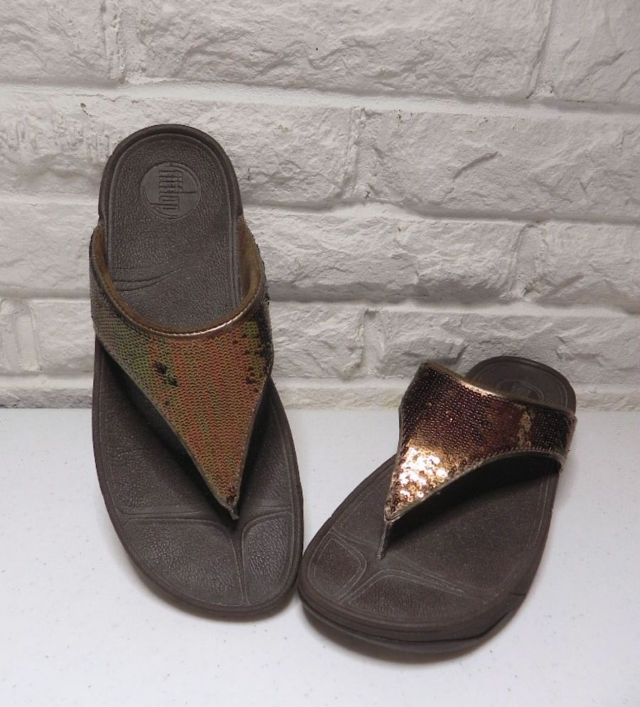 FitFlop 'Electra' Women's Brown Bronze Sequin Thong Wedge Sandals