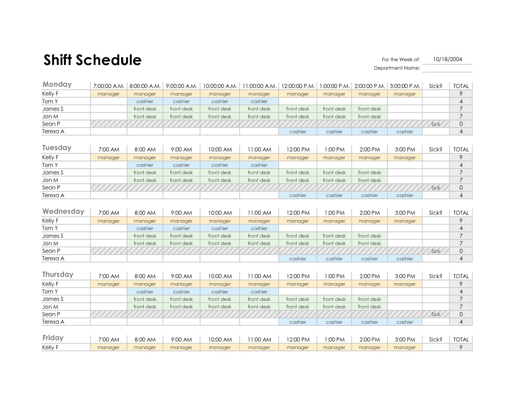 Employee Shift Schedule Excel Template