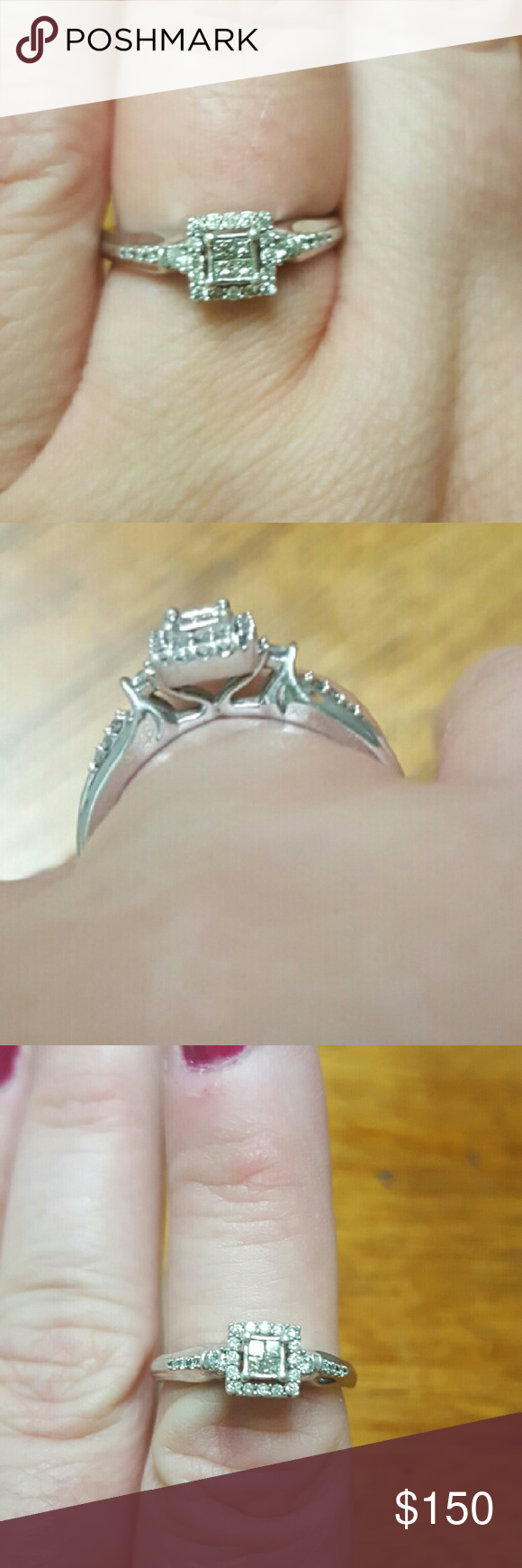 Beautiful engagement /promise ring This ring is so beautiful! It's in excellent condition due to only being worn three months and my fianc? upgraded me to a different ring. It is sterling silver with real diamonds. I'm not sure of the total c.w. but it was purchased from Belk. Jewelry Rings