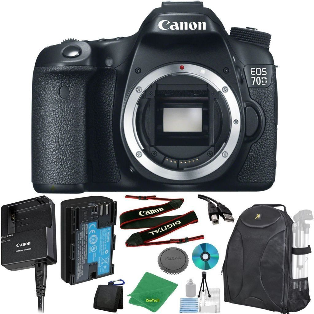 Canon Eos 70d 20 2 Mp Digital Slr With Dual Pixel Af Full Hd 1080p Video With Movie Camera Body No Lens Zeetech 6pc Starter Cleaning Dslr Cameras Digit