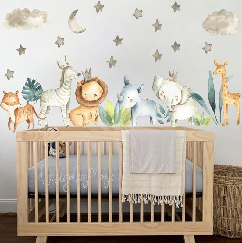 Baby Room Wall Decor Watercolor Safari Wall Stickers Baby Boy Etsy In 2020 Wall Stickers Baby Boy Baby Room Wall Boy Decor