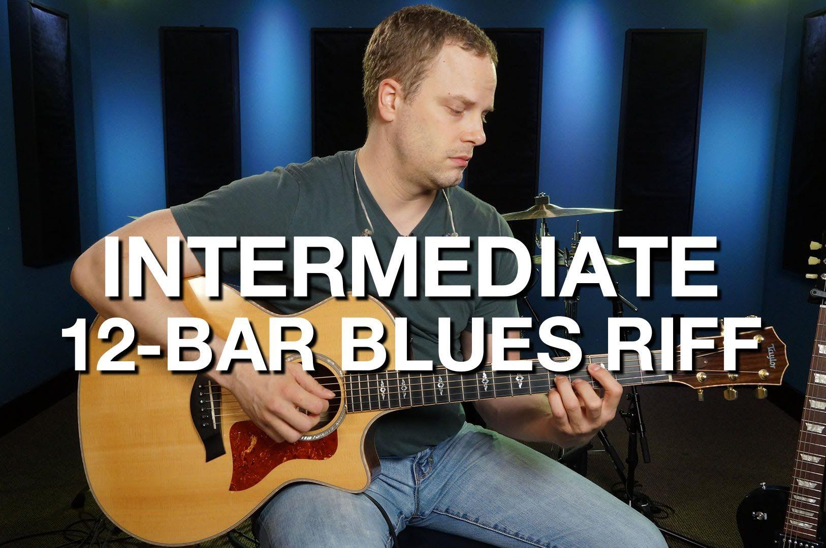 Intermediate 12 Bar Blues Riff Blues Guitar Lesson 5 Blues Guitar Lessons Blues Guitar Guitar Lessons