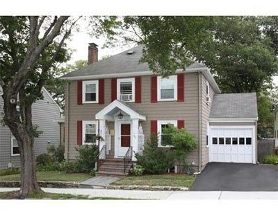 House With Red Shutters Gray White Trim Door