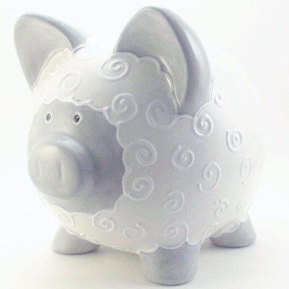 Gray Amp White Lamb Bank Lamb Personalized Piggy Bank