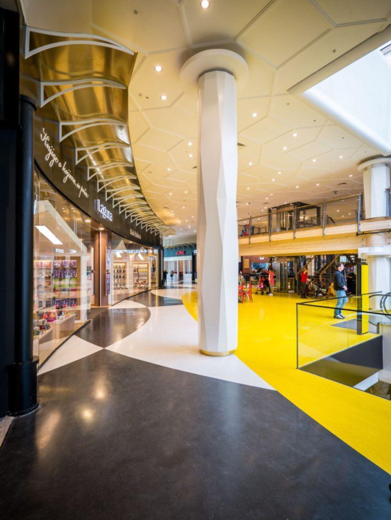 Big Fashion Mall By Ran Morris Terrazzo Column Design Mall Ceiling Design