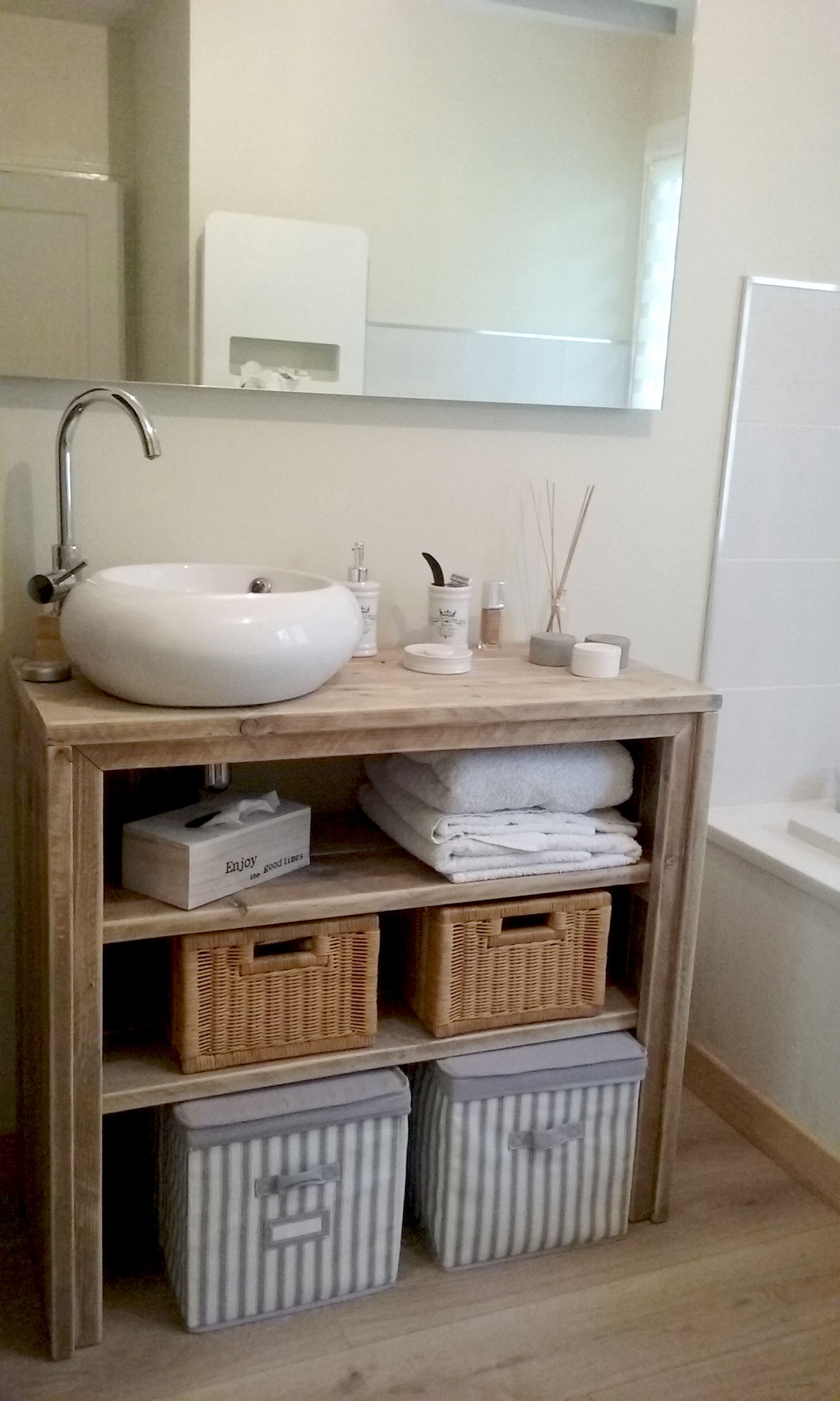 meuble salle de bain pays bois 100 cm meubles salle de bain pinterest pallet wood. Black Bedroom Furniture Sets. Home Design Ideas
