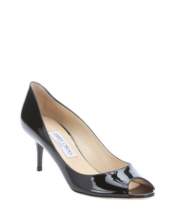 a7b4338dc8a4 Jimmy Choo black patent leather 'Isabel' kitten heel peep toe pumps ...