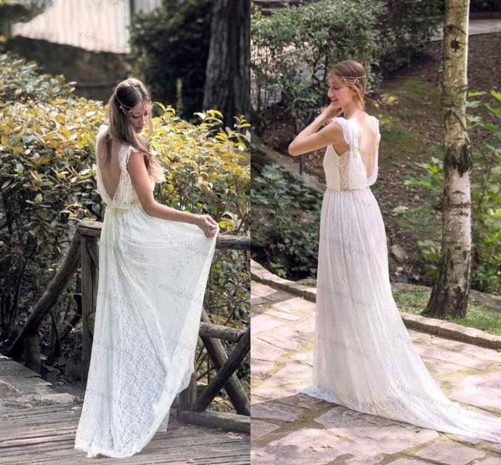Simple v neck backless lace bohemian wedding dress country wedding