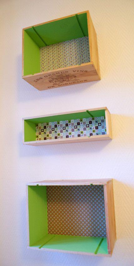 Estantería hecha con cajas forradas con papel Upcycling DIY - Lettre De Resiliation De Bail Meuble