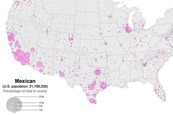 Data Visualization From The US Census Bureau Shows Distribution - Census bureau us map