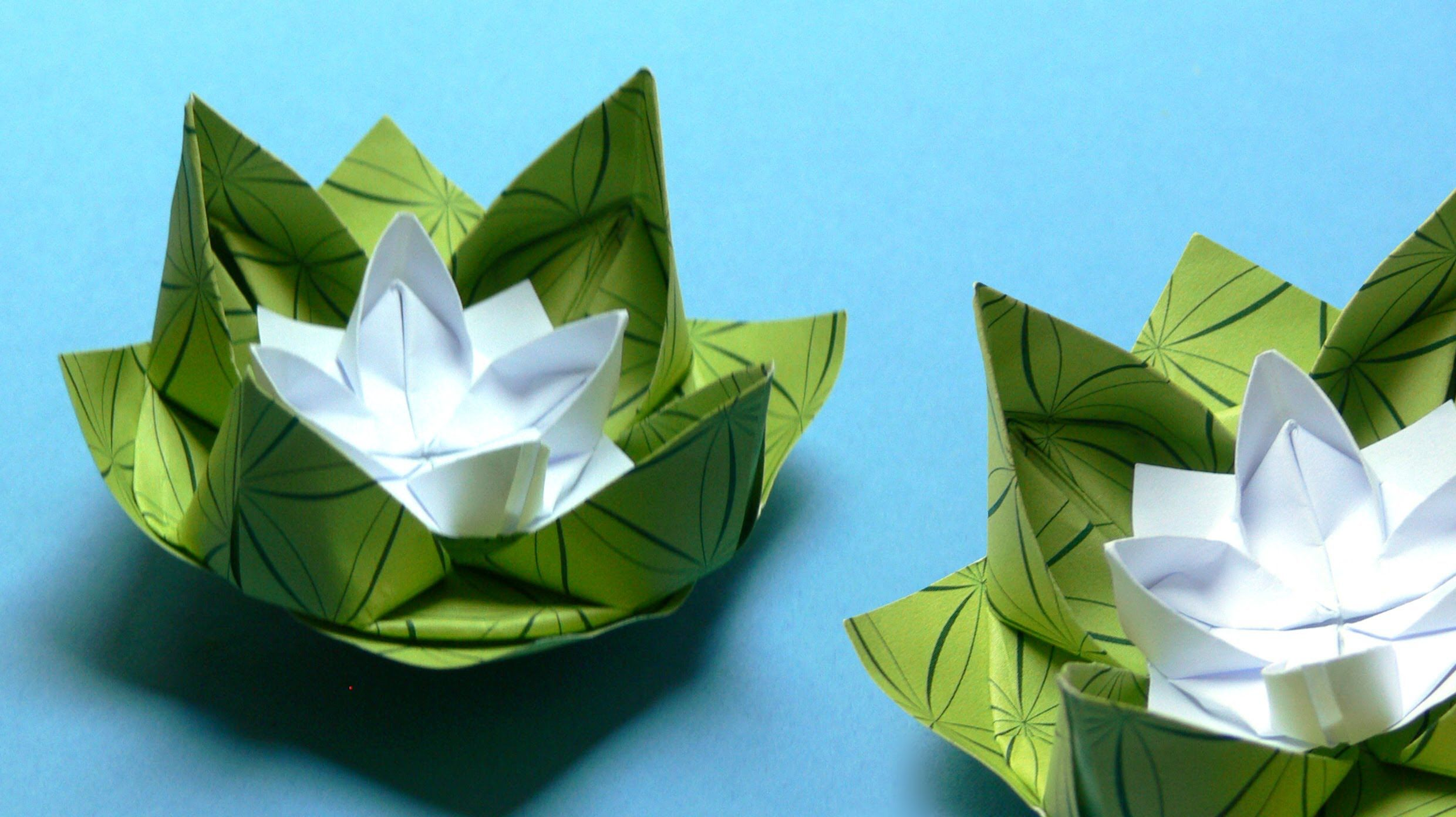 how to make an origami water lily origami origami. Black Bedroom Furniture Sets. Home Design Ideas