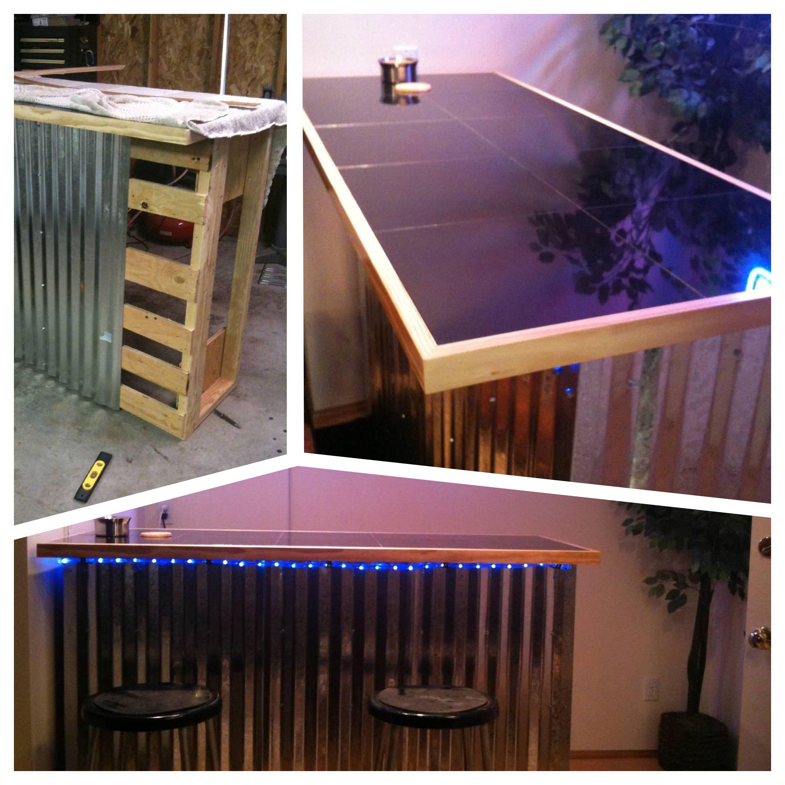 Bar I Built Using Corrugated Metal Siding Granite Tiles And 2x4 S Corrugated Metal Siding Metal Homes Diy Basement