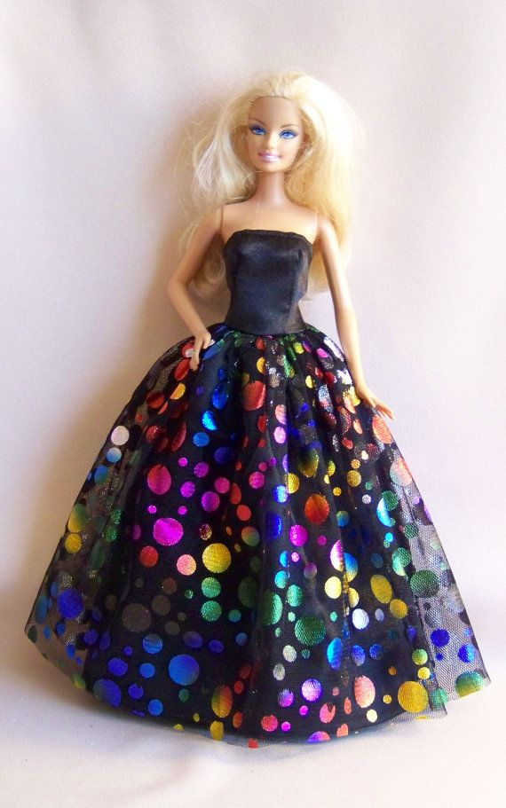 0da605305c066 Handmade Barbie gown of black satin with black dotted tulle overlay ...