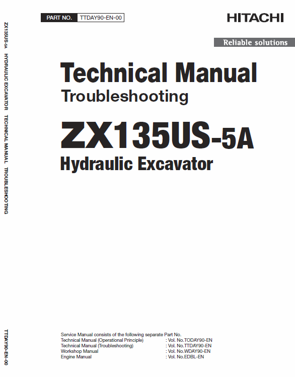 Hitachi Zx135us 5a And Zx135us 5b Excavator Service Manual Hitachi Excavator Manual