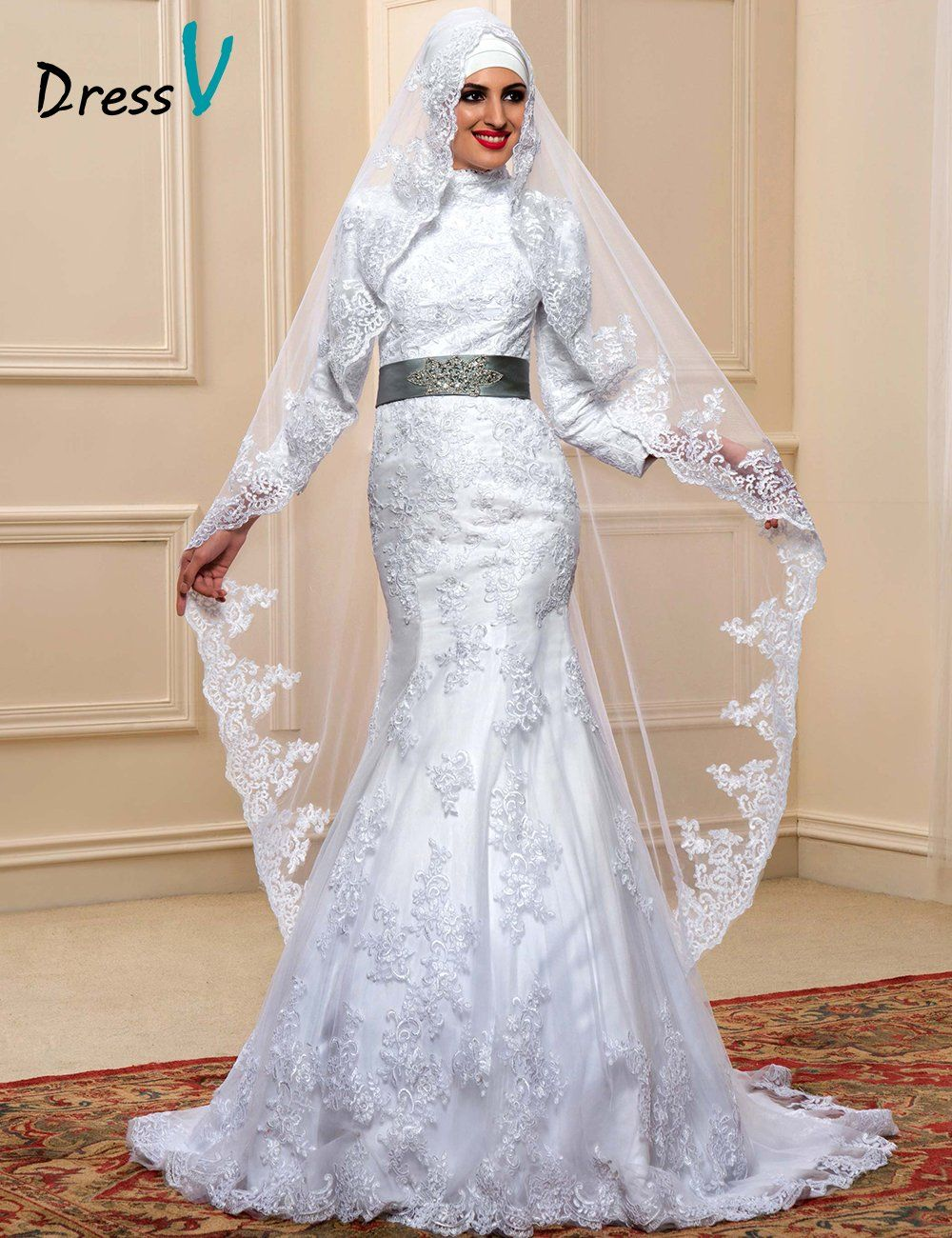 new fashion muslim wedding dresses white lace high neck with