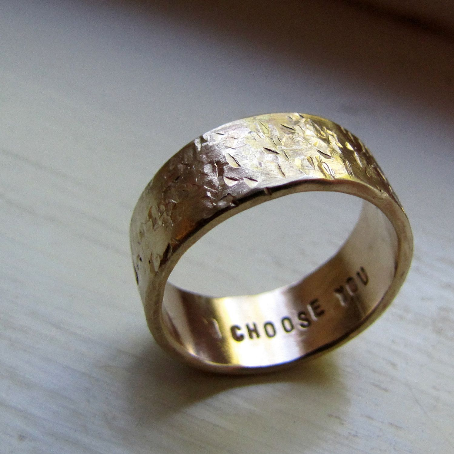 Mens Wedding Band 14k Gold Unique Rustic Distressed Ring