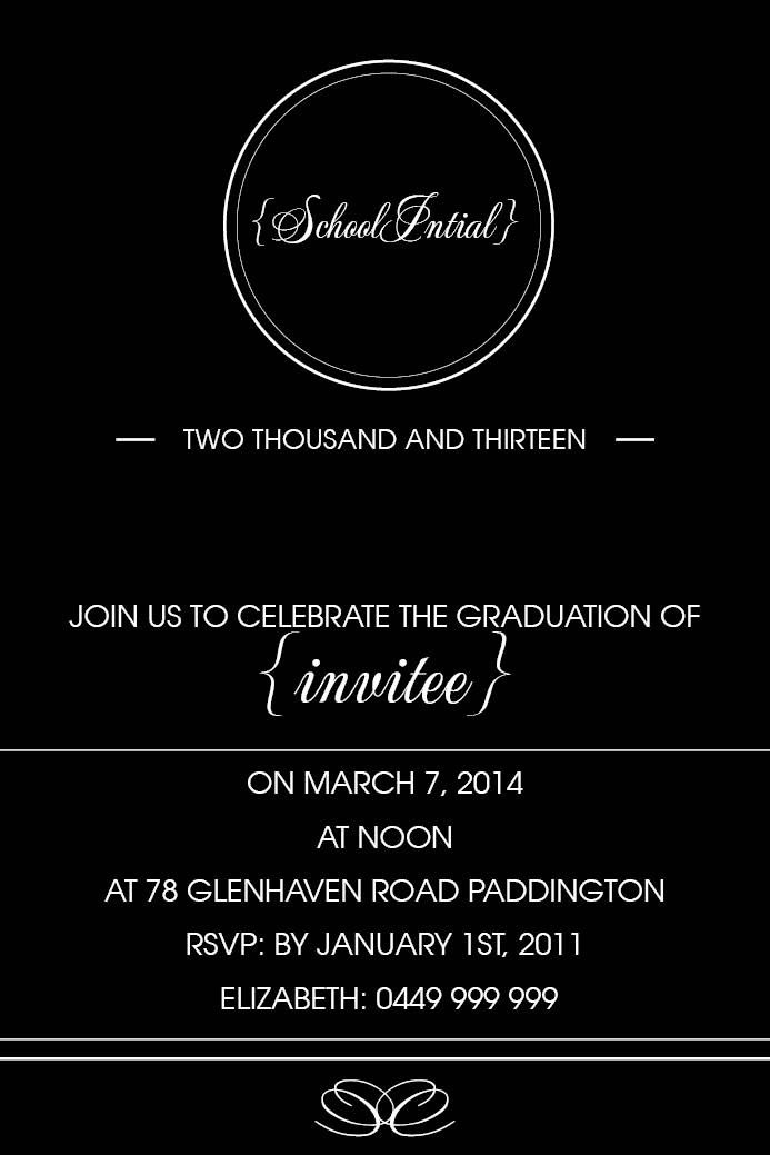 School Days Card w\/ Magnet in Black Invitation - Impressive - formal invitation