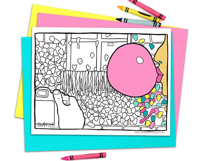 Seattle Gum Wall DIY Adult Coloring Page, Summer Printable ...