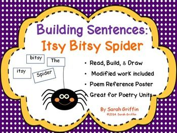 No Prep Language Arts Center. Printable worksheets for building sentences: Itsy Bitsy Spider reinforces emergent reading and writing skills, such as concepts of print, sight word recognition, punctuation, and illustrating to represent sentences.