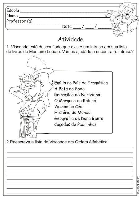 Sitio Do Picapau Amarelo Monteiro Lobato Atividade Dia Do