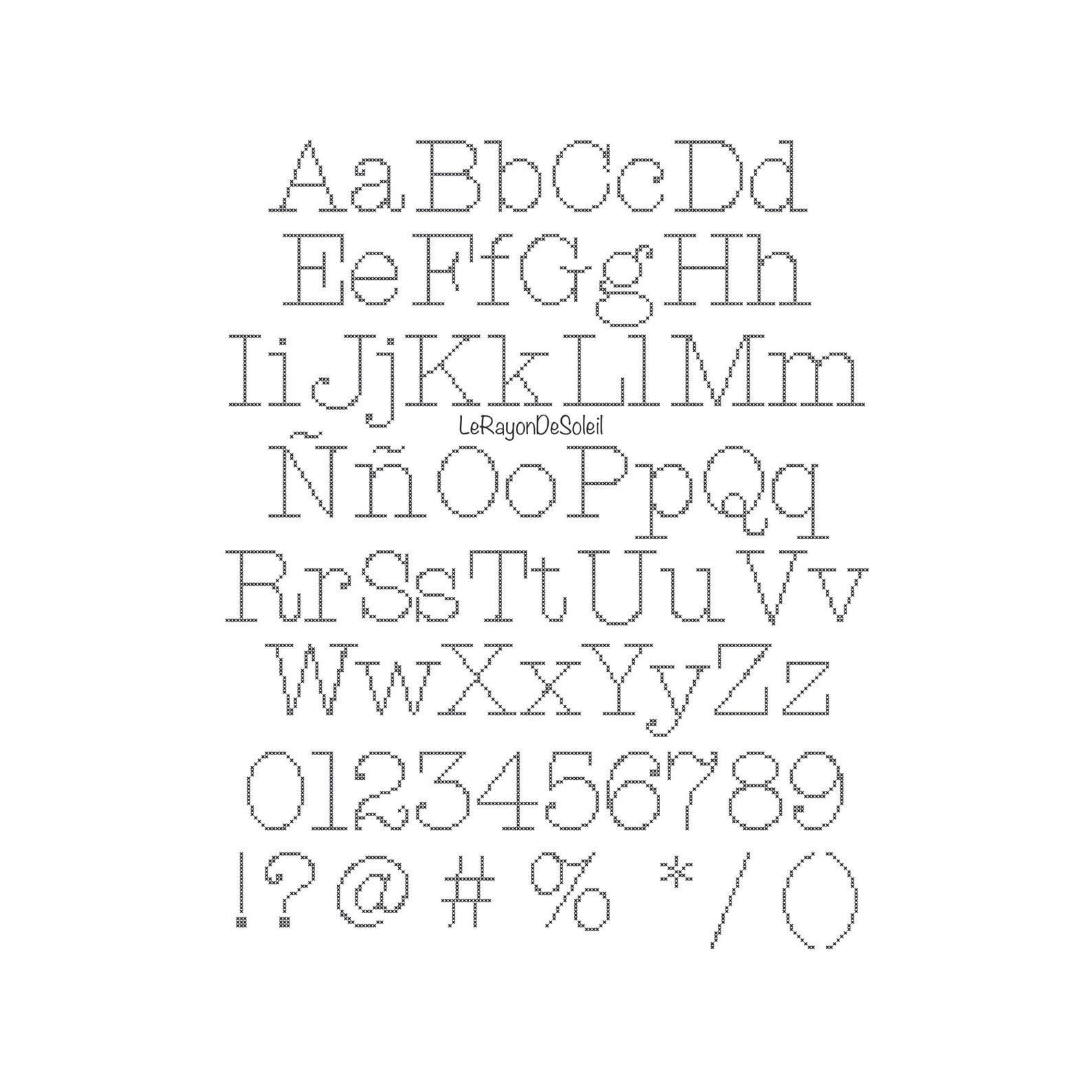 Alphabet cross stitch pattern Slim American typewriter PDF