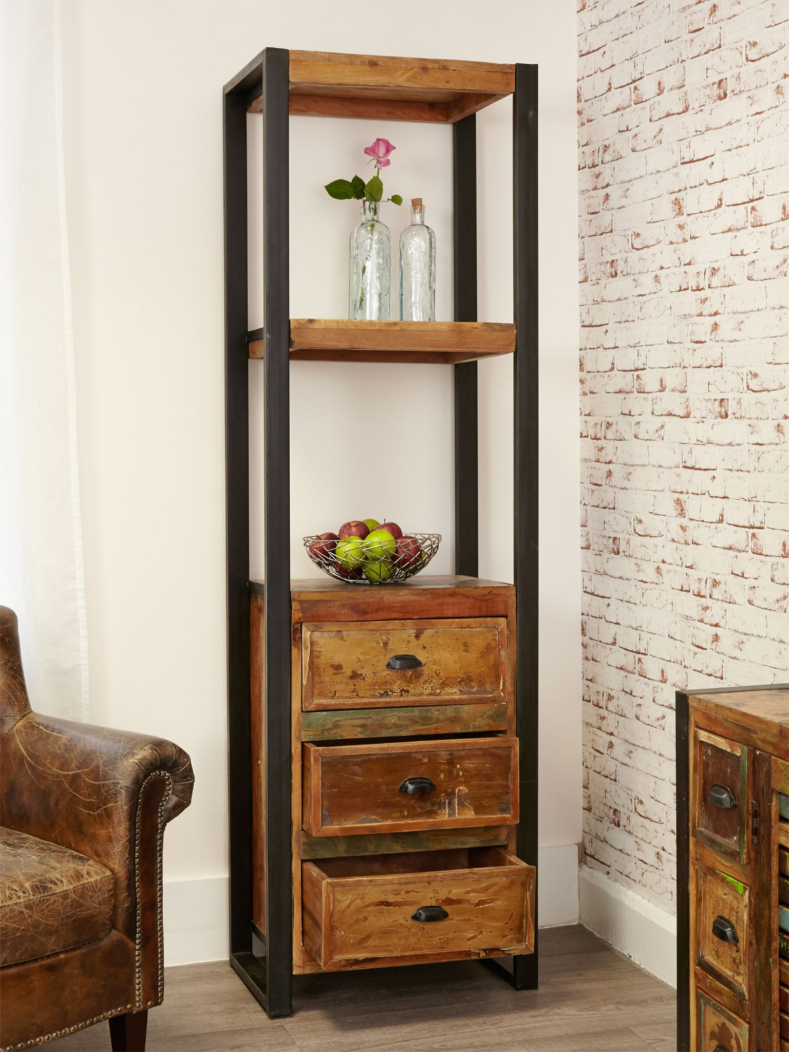 Bathroom Pantry Cabinet Narrow Industrial Bookcase With Drawers Urban Chic Butler Sink