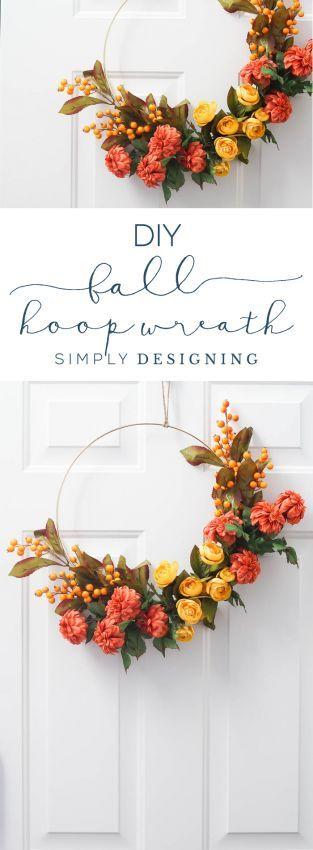 Wie erstelle ich einen Herbst Hoop Kranz #fallwreaths