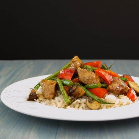 chicken, green beans, bell pepper stir fry