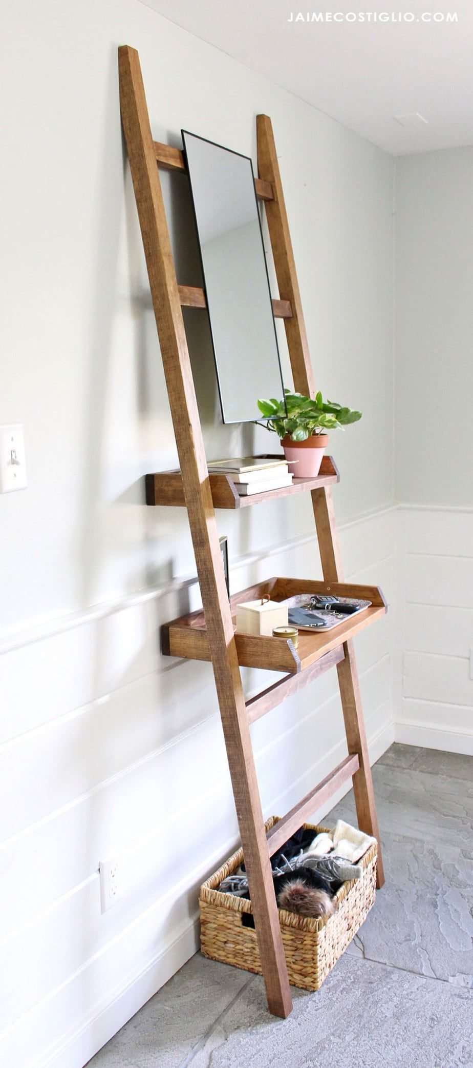 Diy Leaning Shelf For Entry Or Vanity Jaime Costiglio Leaning Shelf Shelves Easy Woodworking Projects
