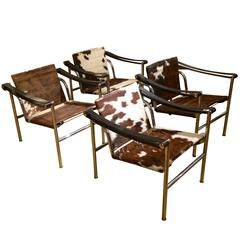Set Of Four Le Corbusier, Sling Chairs Covers In Cowhide