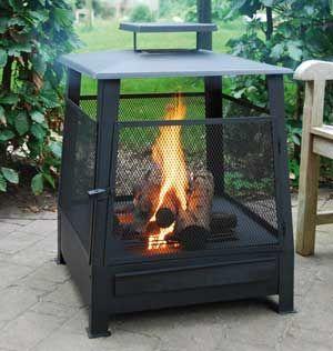Fancy Flames black steel pagoda patio heater