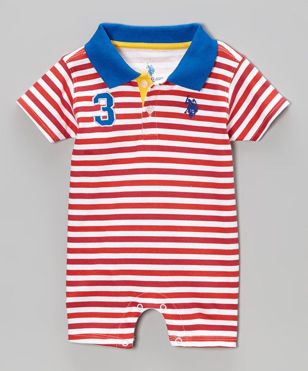 208004abc1de Look at this Red   Blue Stripe Polo Romper - Infant on  zulily today ...