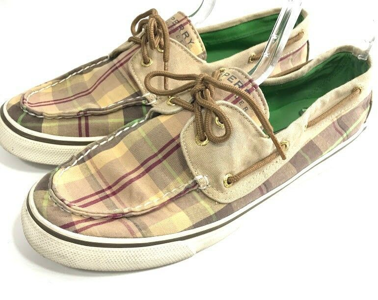 f6c3407dc5 Sperry Top Sider Angelfish Womens Boat Shoes Brown Plaid Size 9.5 Canvas  Loafers #SperryTopSider #Loafers #Casual
