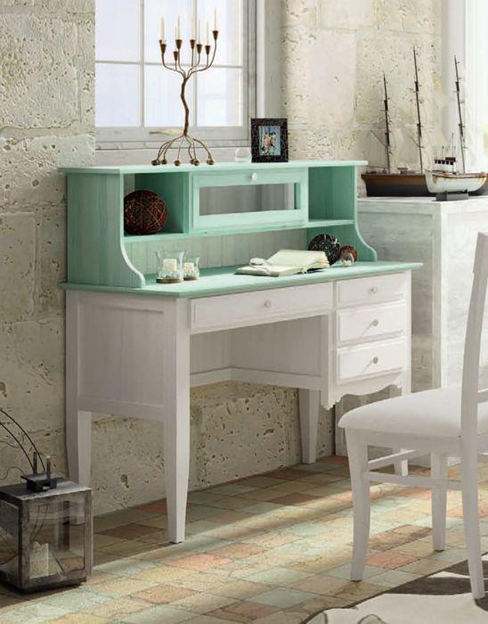 Escritorio fontana en colores blanco decape y verde agua for Mueble secreter