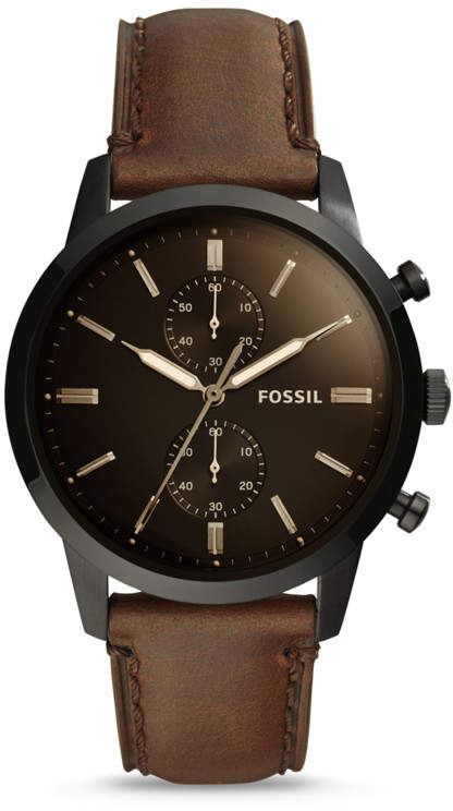3095956f87c66 Fossil Townsman 44mm Chronograph Brown Leather Watch