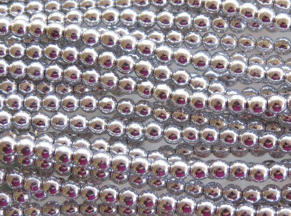 4mm Metallic Bright Silver Czech Glass Beads 16 by beadsandbabble, $3.99