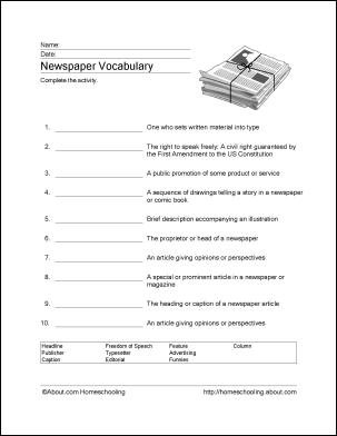 Newspaper Word Search, Vocabulary, Crossword and More