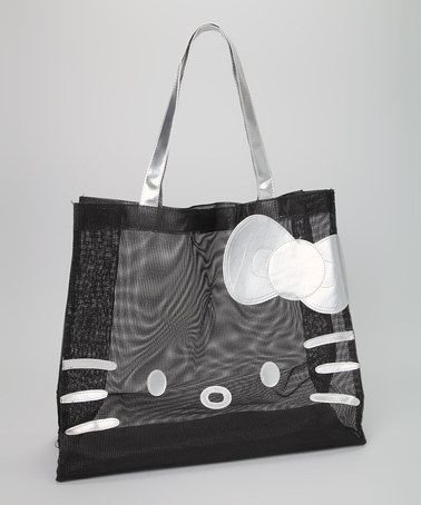 Take a look at this Black Hello Kitty Glitter Mesh Tote by Hello Kitty on #zulily today!