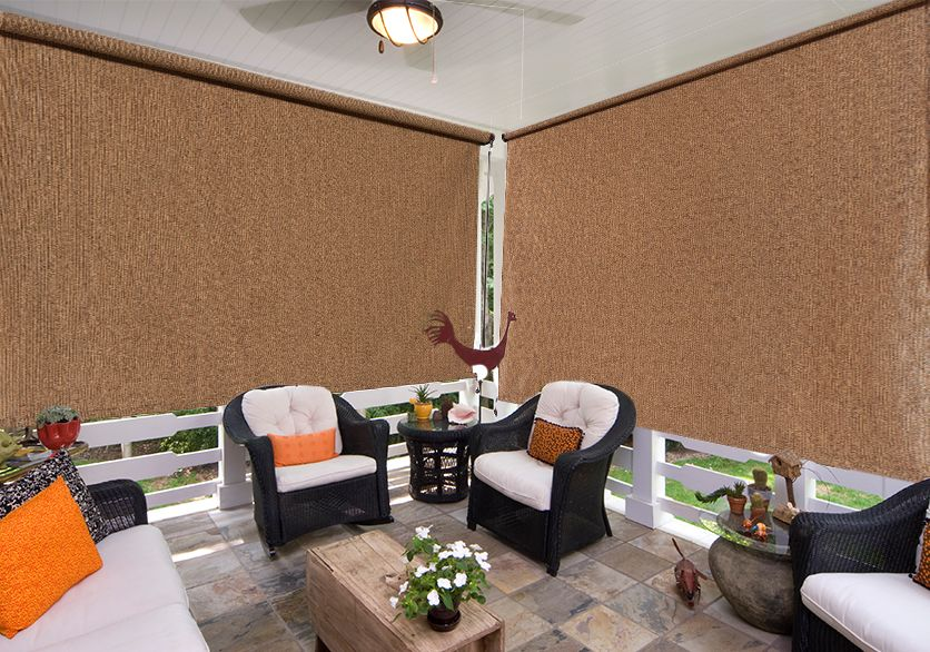 This MOCHA Cordless Exterior Sun Shade Combines Coolaroo® Unique HDPE  Knitted Fabric With A Cordless