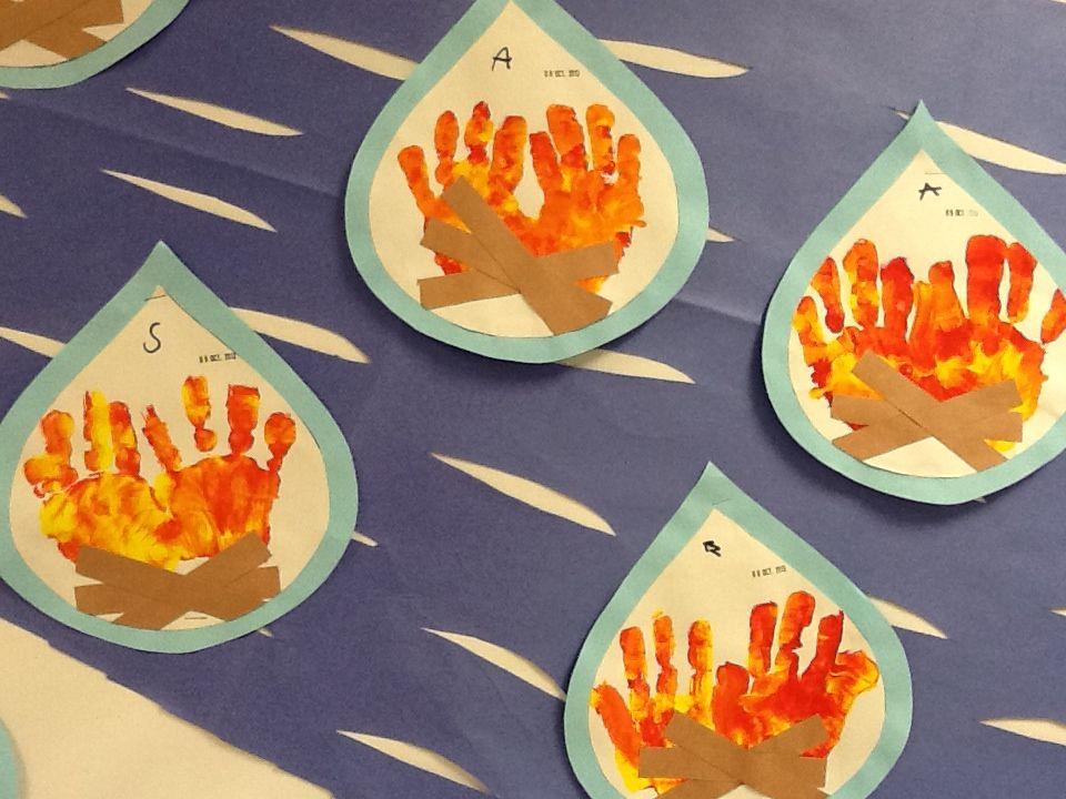 Fire Safety Art Handprint Flames Fire Safety Theme