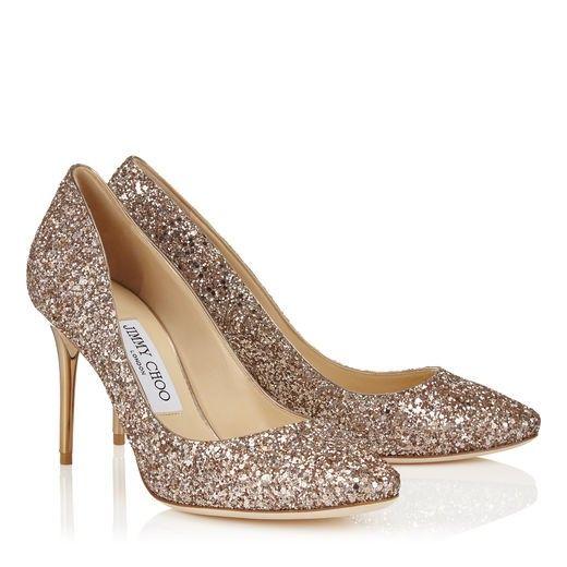Jimmy Choo Esme 85 Nude Shadow Coarse Glitter Fabric Round Toe Pumps  #wedding #shoes